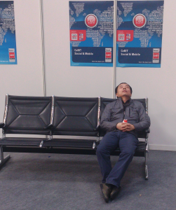 sleeping man at CeBIT